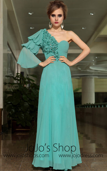 Green Grecian Single Sleeve Asymetrical Formal Prom Evening Cocktail Dress DQ830897