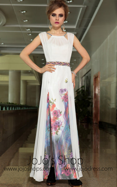 Grecian Floral Hand Painted Ivory Chiffon Formal Prom