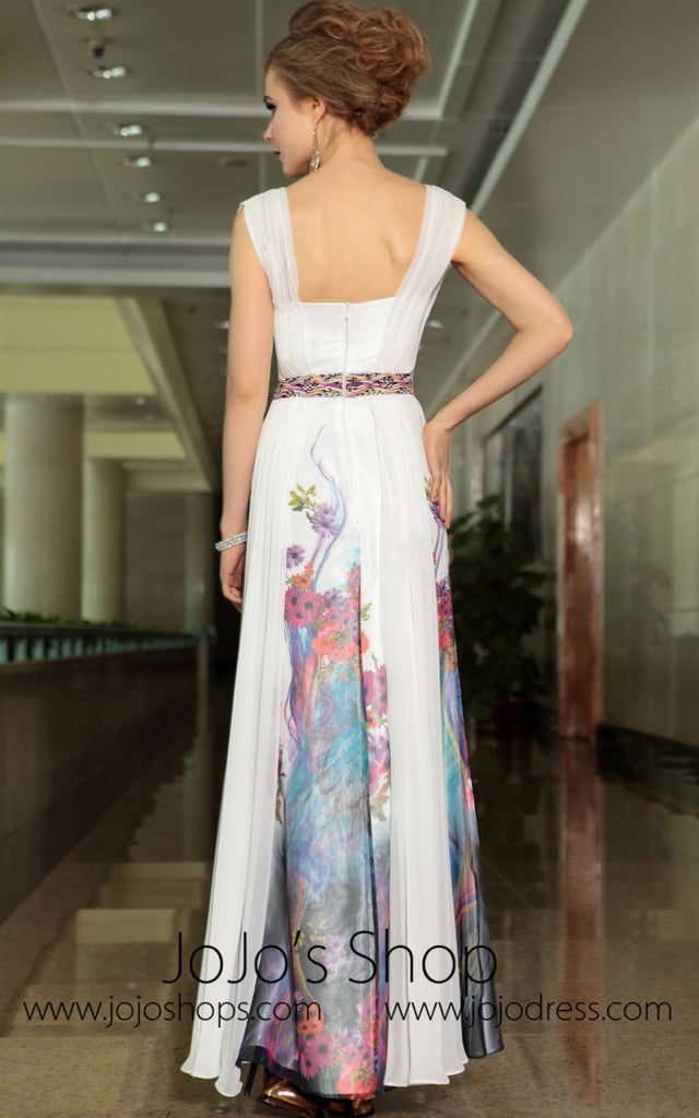 Grecian Floral Hand Painted Ivory Chiffon Formal Prom Evening Cocktail Dress DQ830905