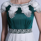 Modest Green And White Chiffon Formal Prom Dress DQ830906