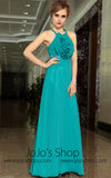 Teal Green Cross Back Ruffle Formalprom Evening Cocktail Dress DQ830908