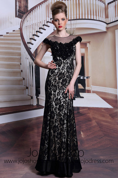 Modest Black Lace Floor Length Formal Prom Dress DQ830910