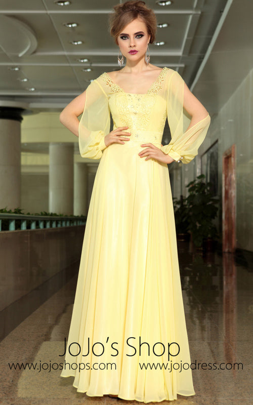 Yellow Chiffon Modest Daisy Long Sleeve Formal Prom Evening Cocktail Dress DQ830911