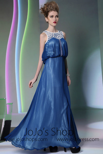 Jewel Neck Blue Chiffon Formal Prom Dress DQ830915