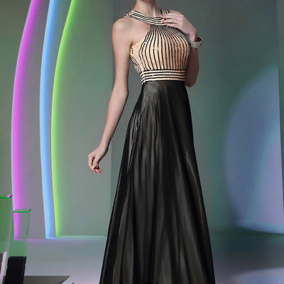 Champagne And Black Grecian Prom Formal Dress DQ830920