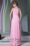 Pink Low Back Halter Formal Dress DQ830938