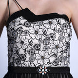 One Shoulder Black Lace Formal Prom Dress DQ830939