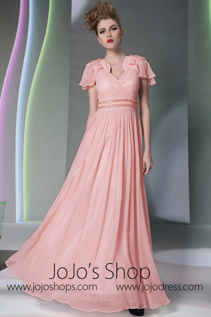 Pink V Neck Grecian Formal Prom Dress With Short Sleeves DQ830943 ...
