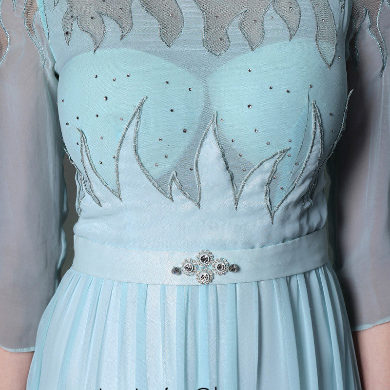 Blue Long Sleeves Chiffon Formal Prom Dress DQ830948
