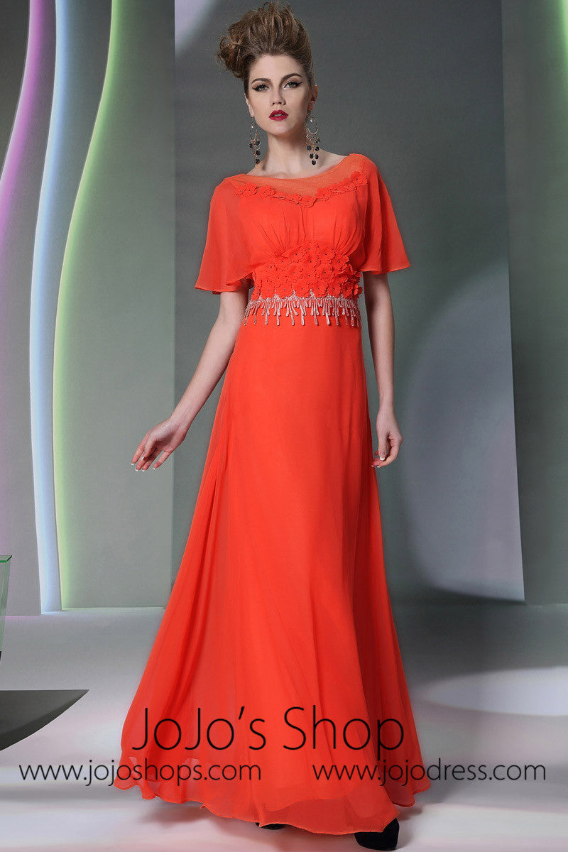 Orange Low Back Grecian Formal Prom Dress DQ830949