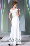 Modest Ivory Cap Sleeves Formal Prom Evening Dress DQ830952