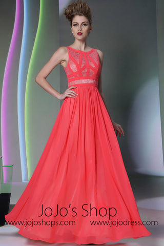 Watermelon Red Jewel Neck Formal Prom Evening Dress DQ830955