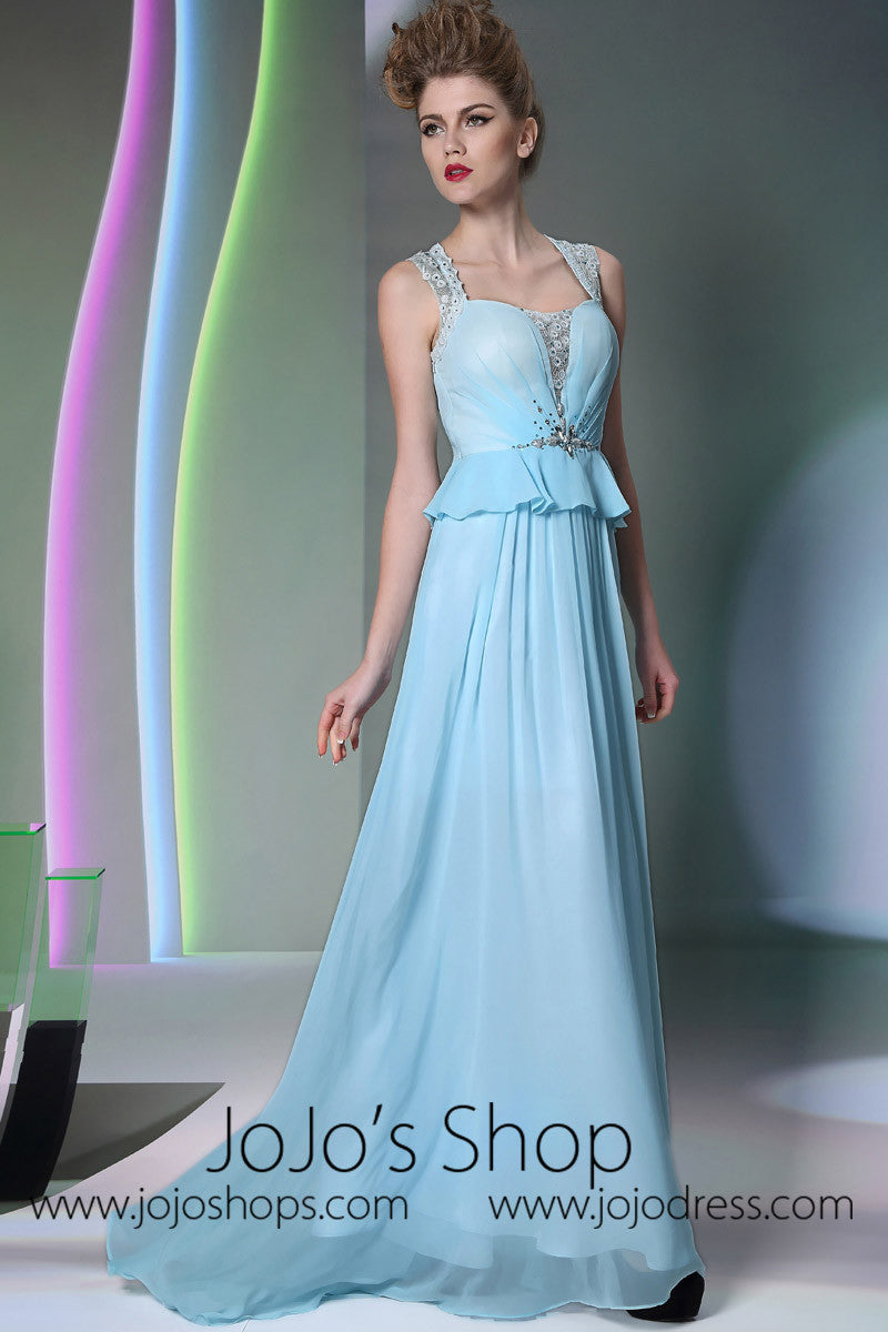 Grecian Blue Cap Sleeves Formal Prom Evening Dress DQ830959