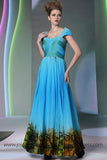 Blue Cap Sleeves Printed Formal Prom Evening Dress DQ830963