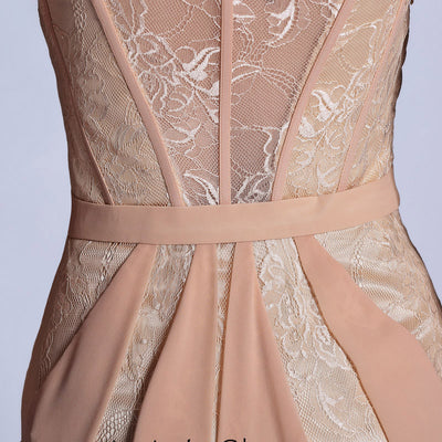 Champagne Beige Modest Formal Prom Evening Dress DQ830970
