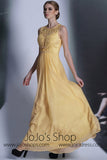 Yellow Jewel Neck Formal Prom Evening Dress DQ830975