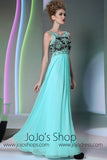 Blue Empire High Waist Formal Prom Evening Dress DQ830977