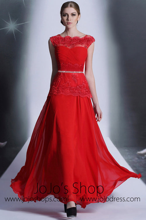 Red Lace Modest Formal Prom Evening Dress DQ830979