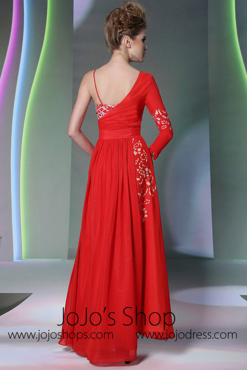 Red Asymetrical Formal Evening Dress DQ830980