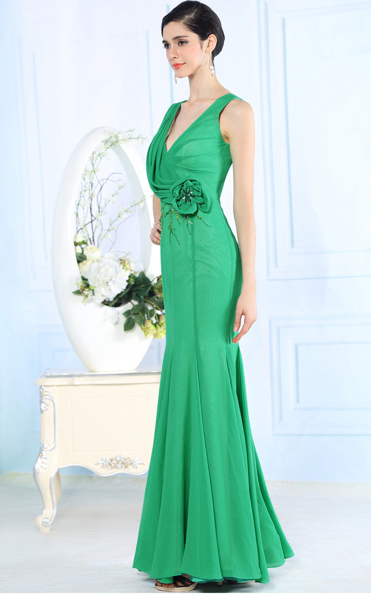 Green Fit and Flare Mermaid Evening Dress DQ831110
