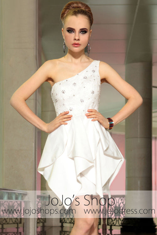 Ivory One Shoulder Short Cocktail Evening Formal Dress DQ86037