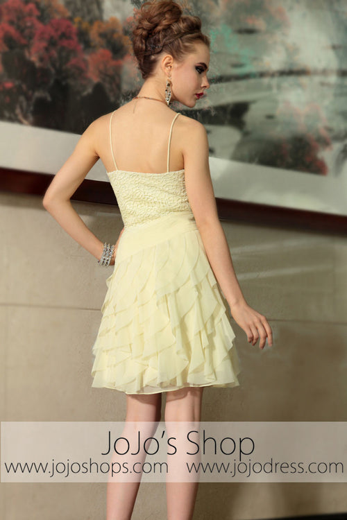 Yellow Thin Straps Short Ruffle Cocktail Evening Formal Dress DQ86038