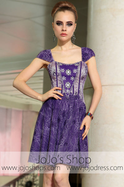 Purple Cap Sleeves Short Bridesmaid Cocktail Evening Formal Dress DQ86040