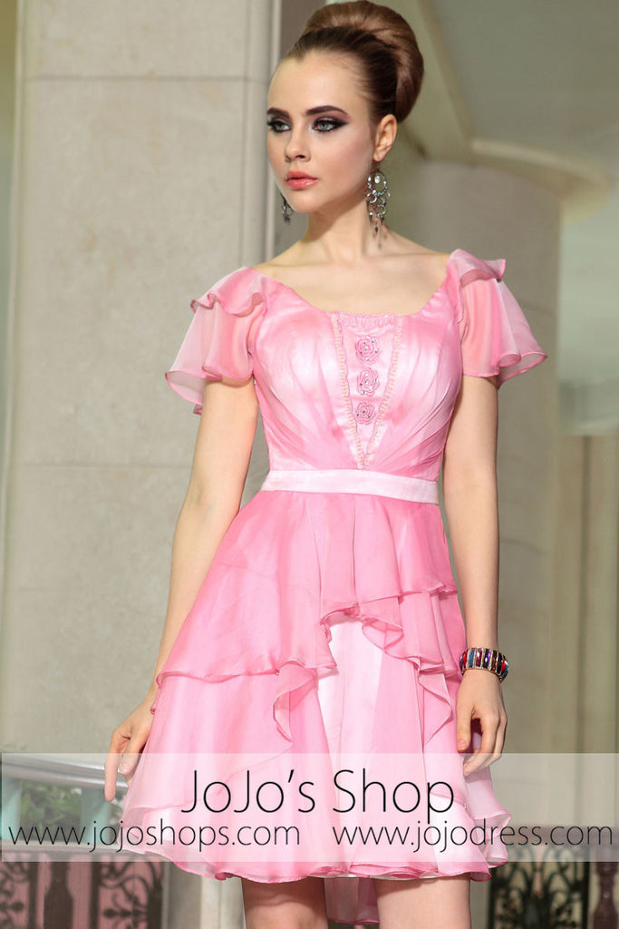 Pink Ruffle Short Butterfly Sleeves Bridesmaid Evening Cocktail ...