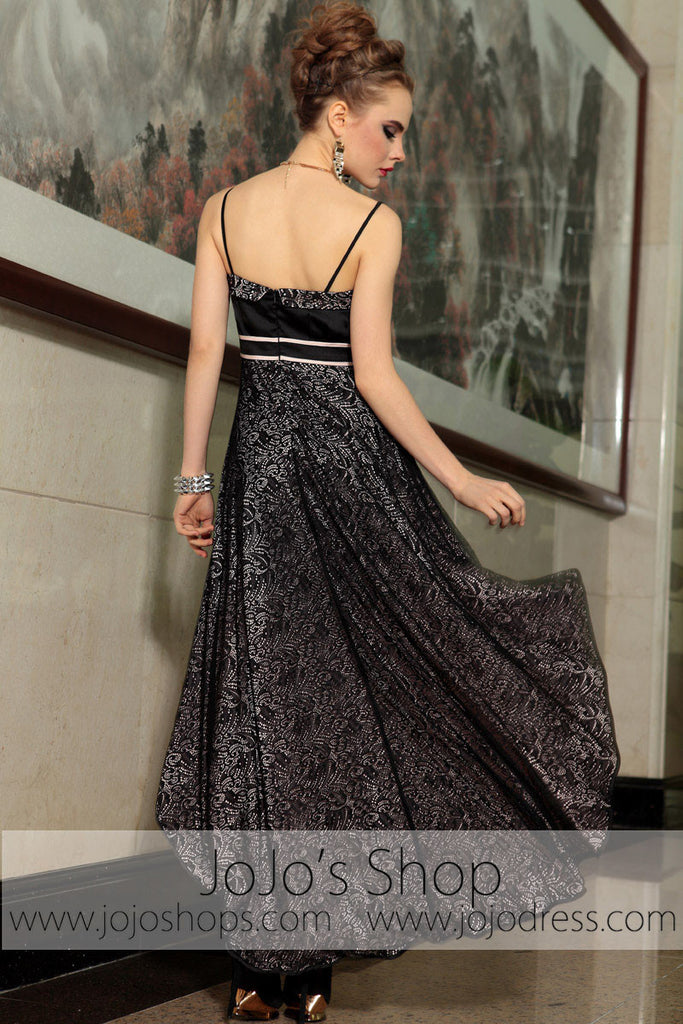 Black Lace Hi Low Straps Semi Formal Prom Evening Cocktail Dress DQ86059
