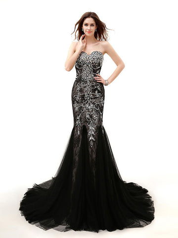 Strapless Black Jeweled Lace Formal Evening Dress