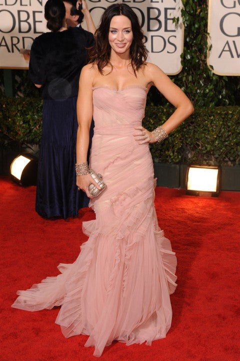 Emily Blunt Pink Golden Globe Red Carpet Evening Dress