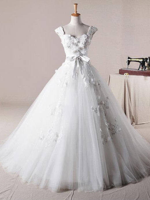 Strapless Floral Organza Ball Gown Wedding Dress – JoJo Shop