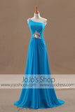 Grecian Goddess Blue Asymetrical One Shoulder Formal Prom Dress | G1091