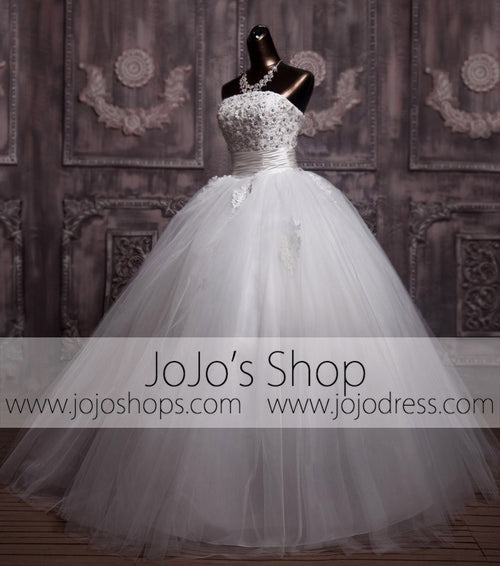 Copy of Strapless Daisy Floral Ball Gown Princess Wedding Dress | G1092