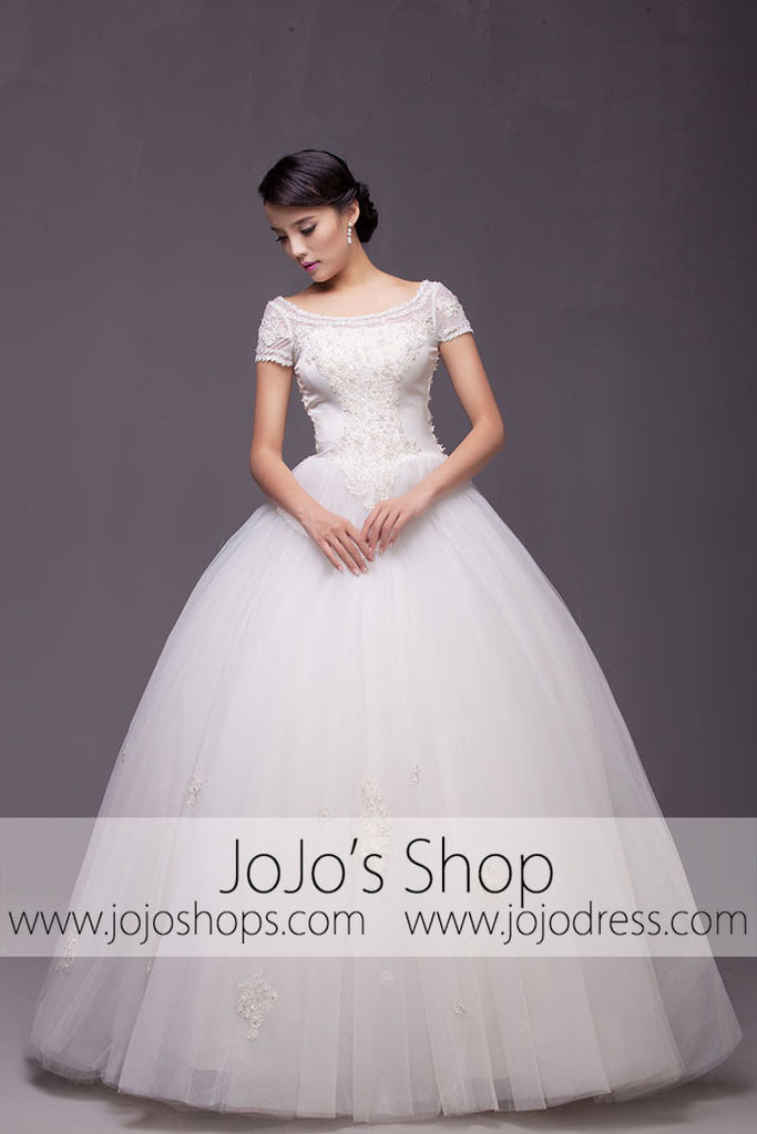 Short Sleeves Princess Ball Gown Wedding Dress Debutante