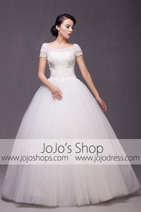 Short Sleeves Princess Ball Gown Wedding Dress Debutante Ball Gown