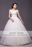 Short Sleeves Princess Ball Gown Wedding Dress Debutante Ball Gown| G2003