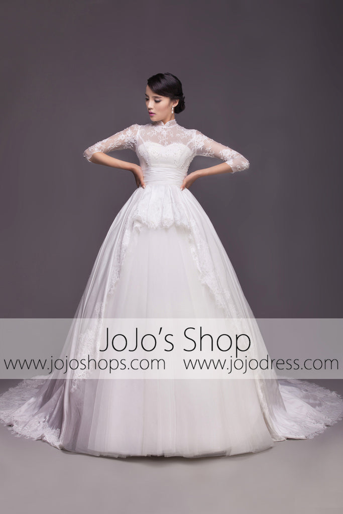 Modest Wedding Dress with Mandarin Collar and Long Sleeves | G2005 ...