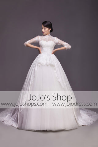 Modest Wedding Dress with Mandarin Collar and Long Sleeves | G2005