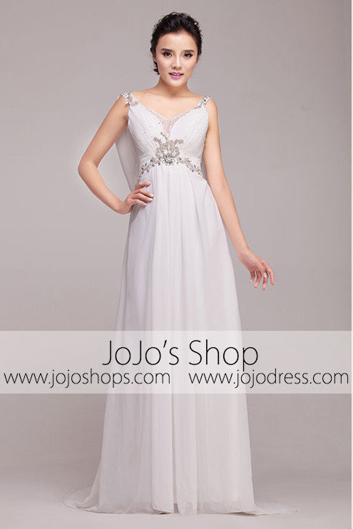 Grecian Goddess V Neck Jeweled Wedding Dress | G2006