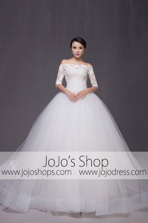 Off Shoulder Long Sleeves Ball Gown Wedding Dress | G2007
