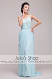 Grecian Powder Blue V Neck Formal Prom Dress | G2009