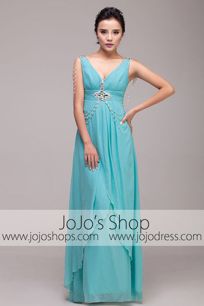 Grecian Goddess Blue V Neck Formal Prom Dress | G2011
