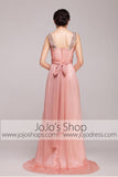 Grecian Goddess Pink Strapped Formal Prom Dress | G2012