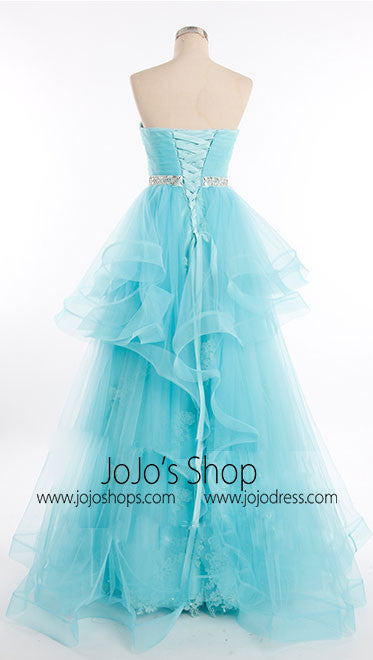 Ice blue strapless evening dress