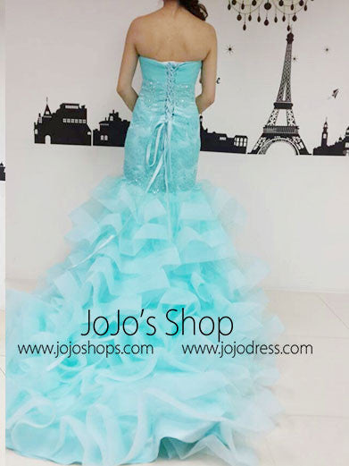 Ice Blue Strapless Fit and Flare Evening Dress with Ruffles G2020