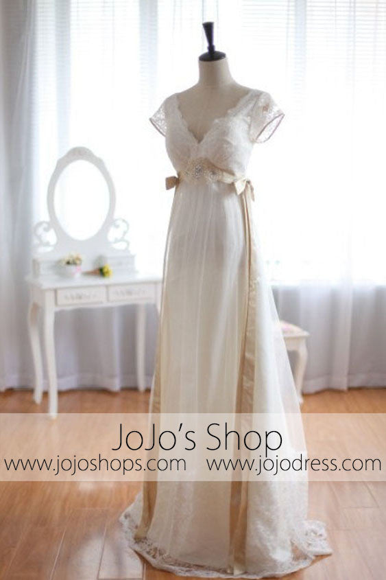 Low Back Vintage Wedding Dress Empire Waist Wedding Dress | G8002 ...