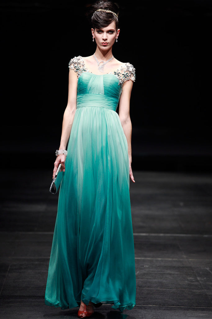 Regency Style Green Cap Sleeves Prom Pageant Evening Gown SA880639 ...