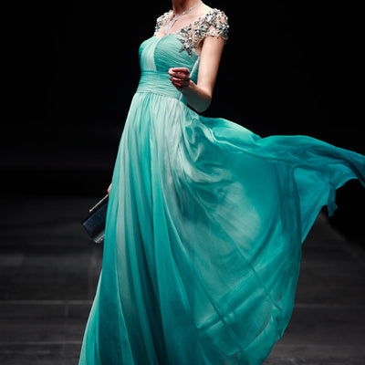 Regency Style Green Cap Sleeves Prom Pageant Evening Gown SA880639