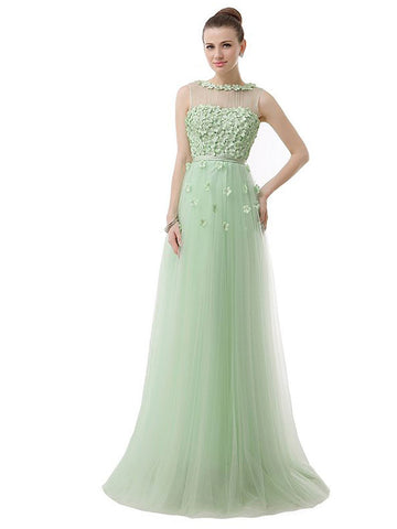 Green Tulle Formal Prom Bridesmaid Evening Dress | DV2085